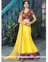 Classy Yellow Patch Border Work Banglori Silk A Line Lehenga Choli