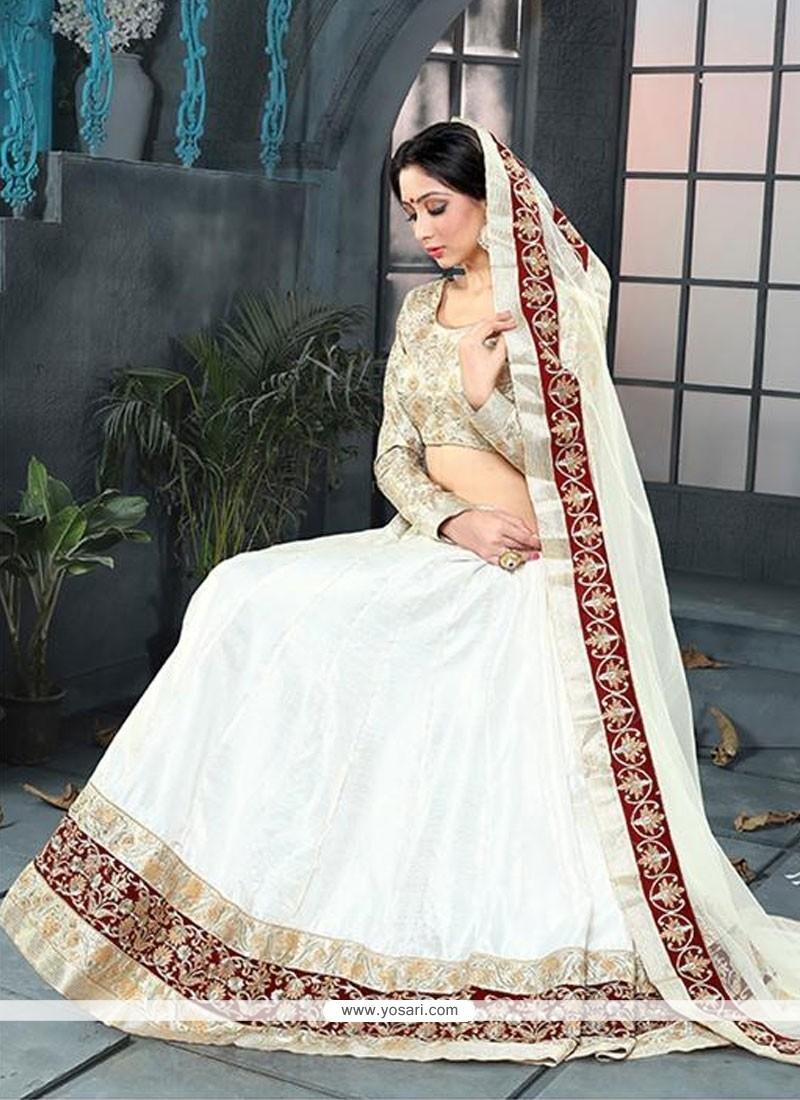 Impeccable White Embroidered Work Banglori Silk A Line Lehenga Choli