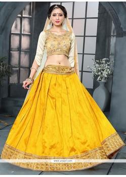 Entrancing Banglori Silk Yellow Zari Work A Line Lehenga Choli