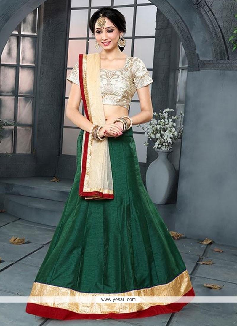 Royal Banglori Silk Green Embroidered Work A Line Lehenga Choli