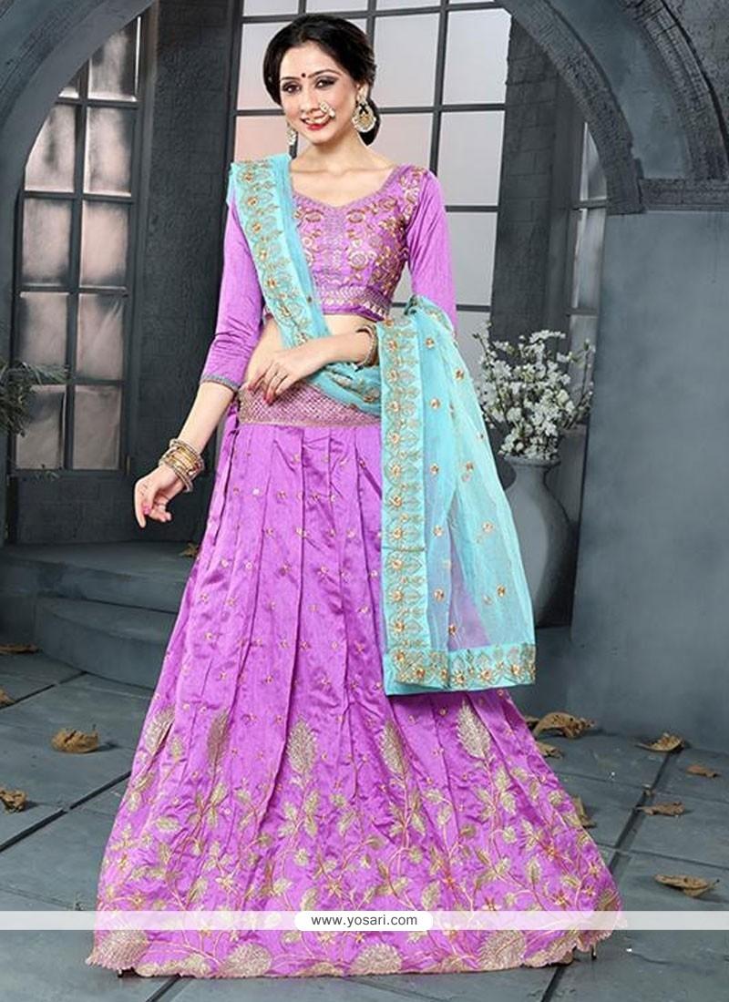Heavenly Banglori Silk Violet A Line Lehenga Choli
