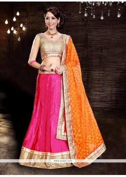 Magnificent Silk Hot Pink And Orange Embroidered Work A Line Lehenga Choli
