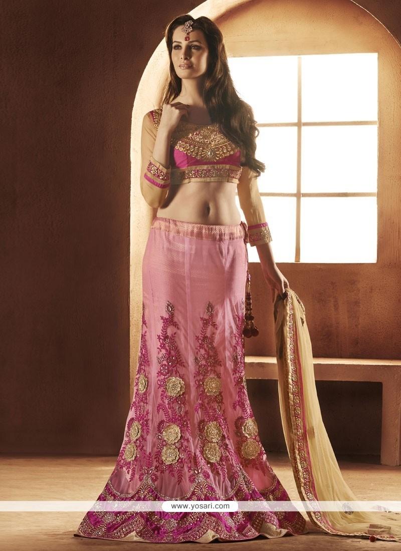 Mesmeric Pink Net Designer Lehenga Choli