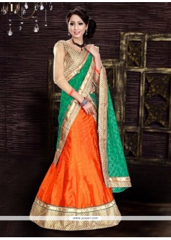 Delightsome Orange A Line Lehenga Choli