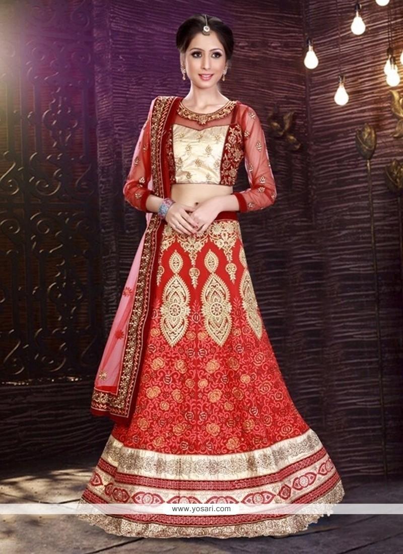 Luxurious Red A Line Lehenga Choli