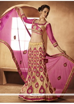 Fab Cream And Pink Net Lehenga Choli