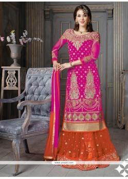 Haute Hot Pink Embroidered Work A Line Lehenga Choli