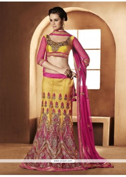 Awesome Yellow Net A-Line Lehenga Choli