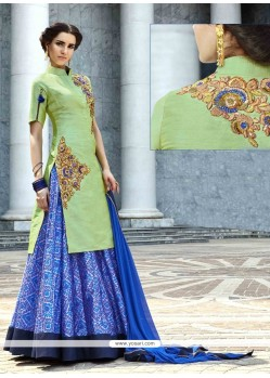 Angelic Art Silk Blue And Sea Green A Line Lehenga Choli