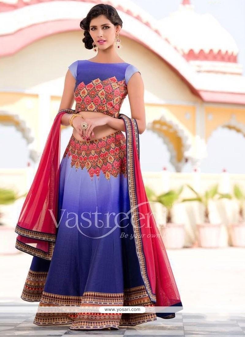 Fabulous Silk Blue A Line Lehenga Choli