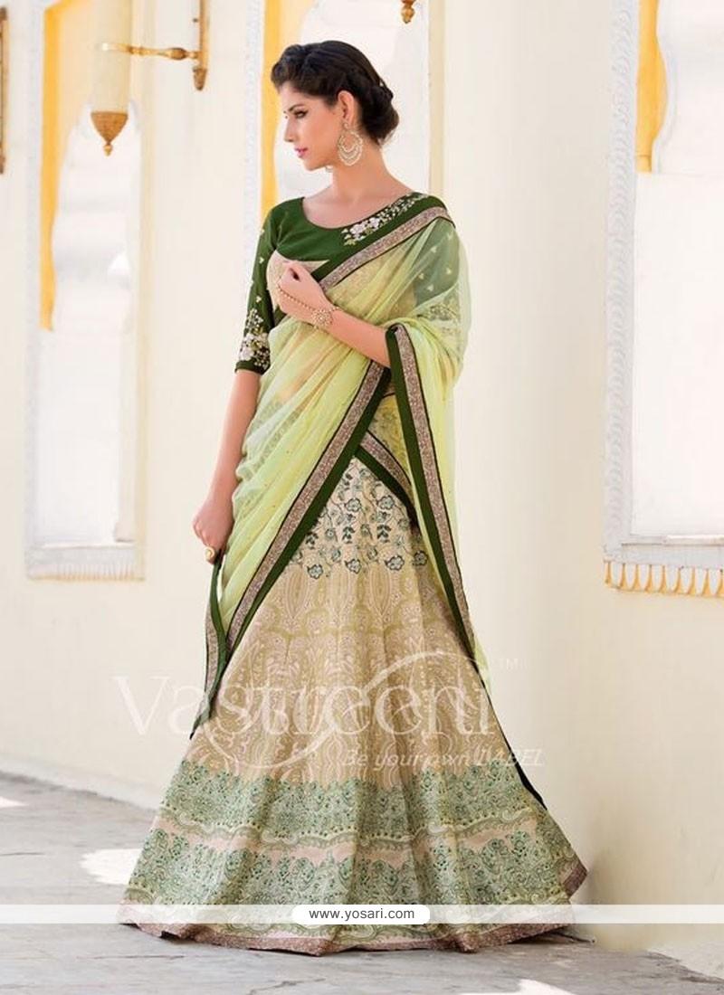 Mesmerizing Green Silk A Line Lehenga Choli