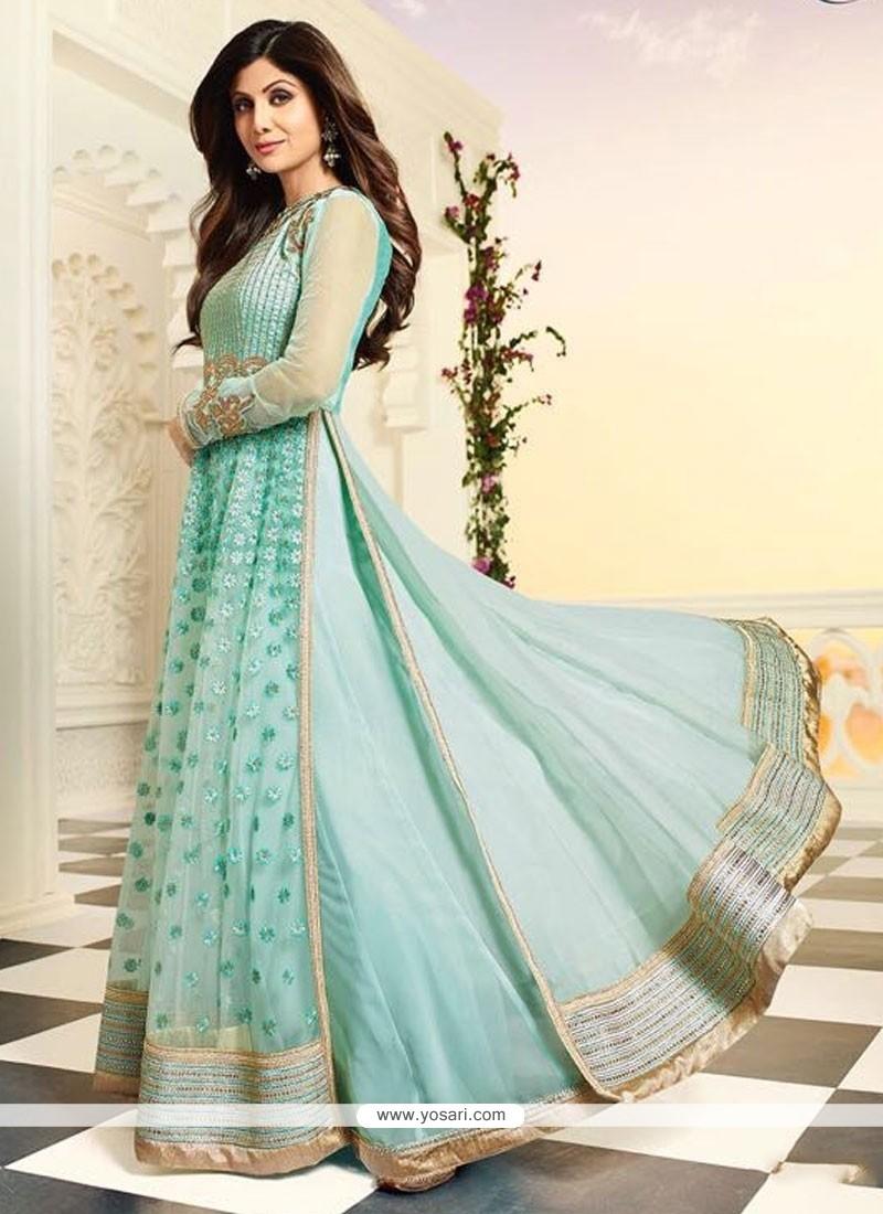 Shilpa Shetty Turquoise A Line Lehenga Choli