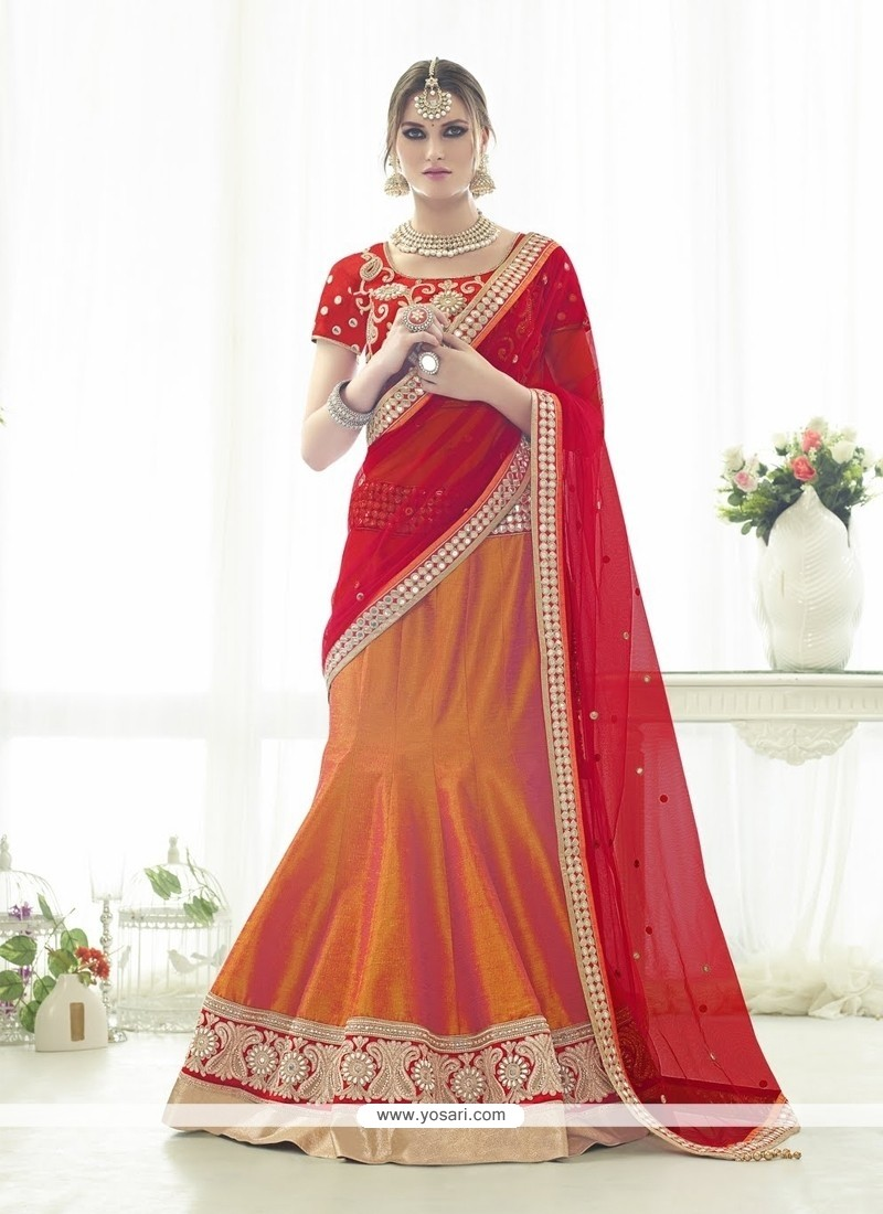 Awesome Silk Orange And Red A Line Lehenga Choli