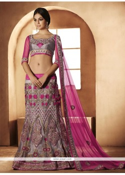 Grey And Pink Shaded Stone Work Lehenga Choli