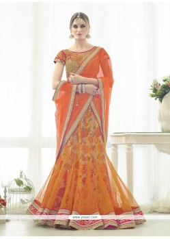 Transcendent Net Orange Resham Work A Line Lehenga Choli