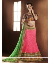 Lustrous Pink Jacquard And Net Lehenga Choli