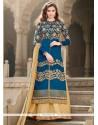 Glamorous Banglori Silk Blue Patch Border Work A Line Lehenga Choli