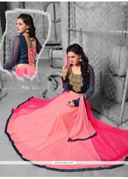 Haute Art Silk Pink A Line Lehenga Choli