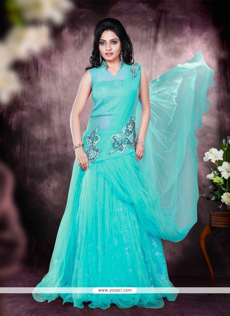 Conspicuous Turquoise Net Embroidered Work Designer Gown