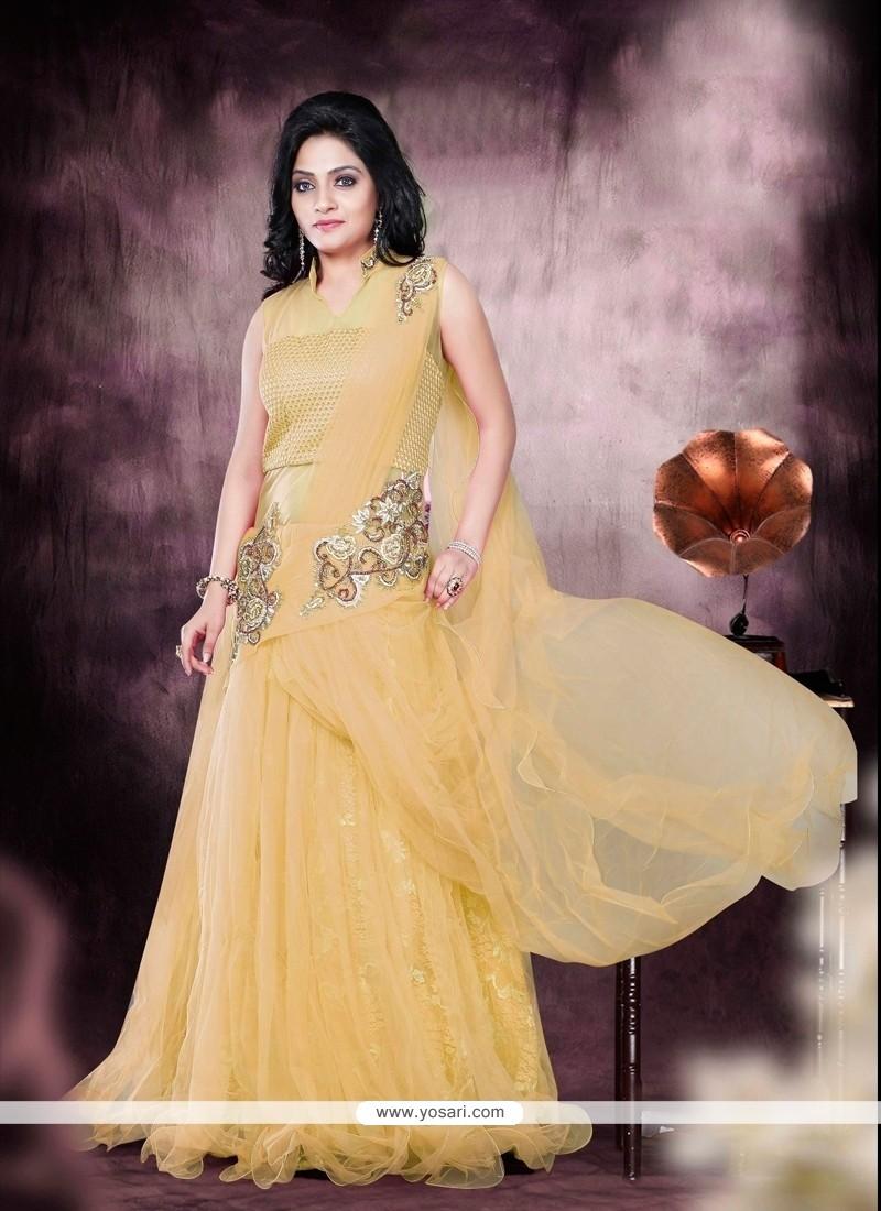 Net Mustard Resham Work Designer Gown