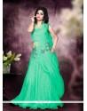 Intricate Net Sea Green Resham Work Designer Gown