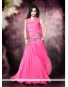 Net Hot Pink Embroidered Work Designer Gown