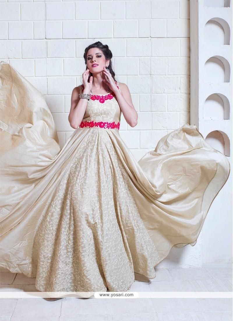 Alluring Silk Embroidered Work Designer Gown