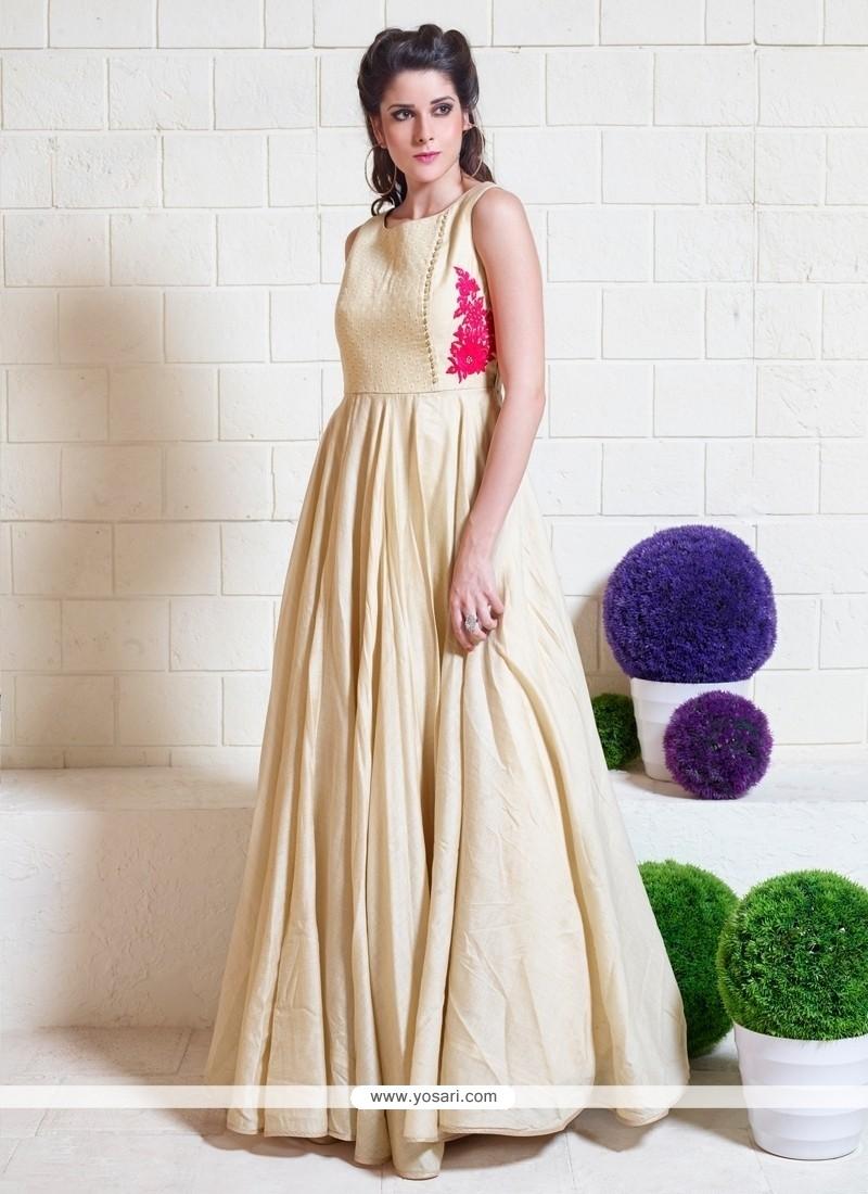 Versatile Jute Silk Resham Work Designer Gown