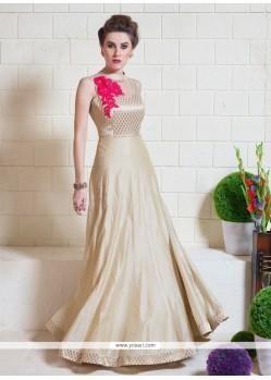 Fashionable Embroidered Work Tussar Silk Beige Designer Gown