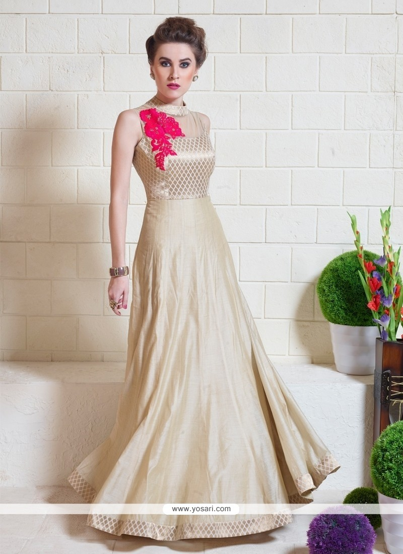 Shop online Fashionable Embroidered Work Tussar Silk Beige Designer Gown