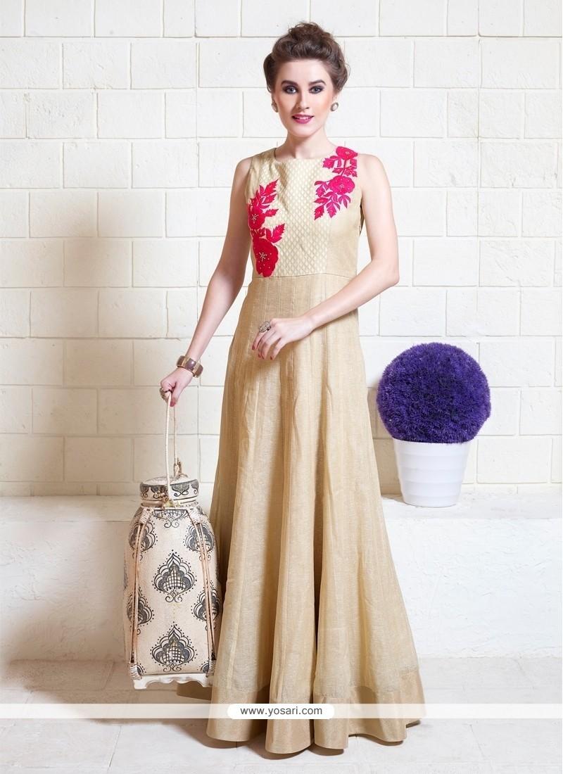 Especial Beige Jute Silk Designer Gown