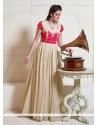 Tempting Beige Embroidered Work Designer Gown