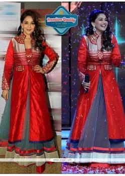 Madhuri Dixit Maroon And Grey Net Lehenga Choli