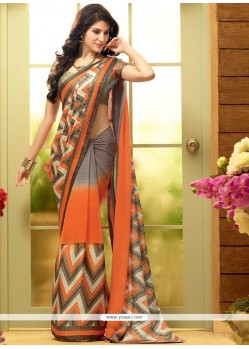 Desirable Grey And Orange Shaded Faux Chiffon Printed Saree