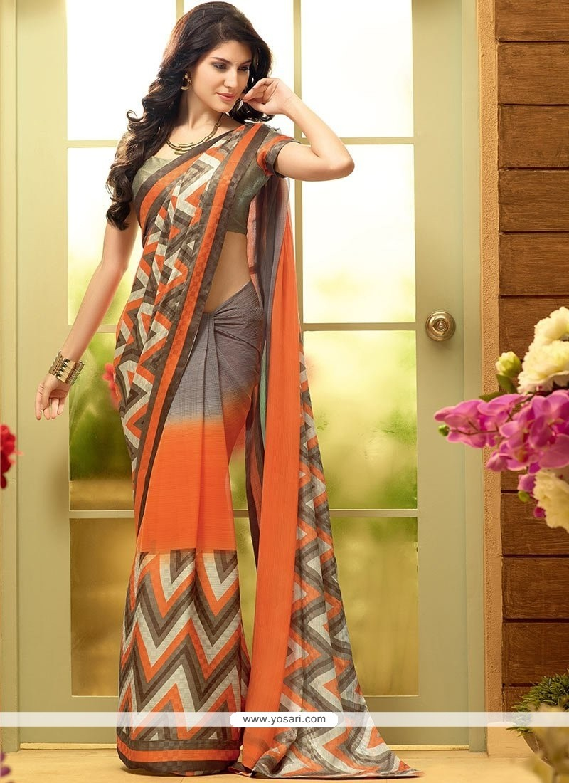 Desirable Grey And Orange Shaded Faux Chiffon Printed Saree