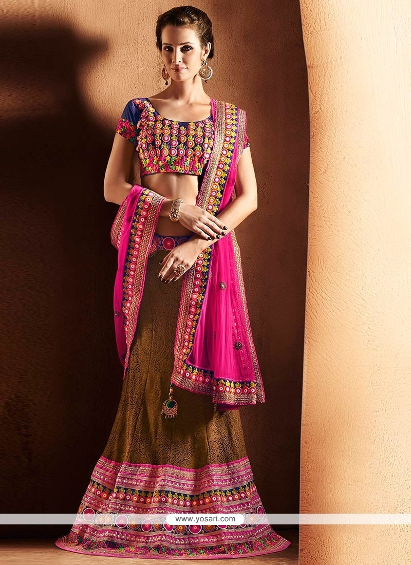 Groovy Brown Jacquard Lehenga Choli