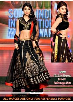 Shriya Saran Black Velvet Lehenga Choli