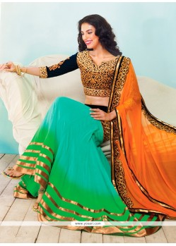 Turquoise And Green Shaded Georgette Lehenga Choli