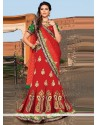 Markable Maroon Net Stone Wedding Lehenga Choli