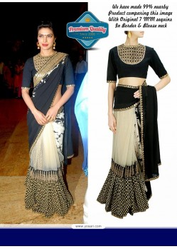 Priyanka Chopra Beige And Black Half And Half Saree
