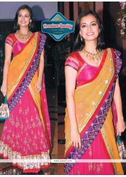 Diya Mirza Style Magenta And Yellow Lehenga Saree