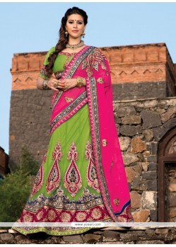 Lustrous Green Net Stone Wedding Lehenga Choli