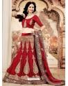 Girlish Maroon Zari Work Net Bridal Lehenga Choli