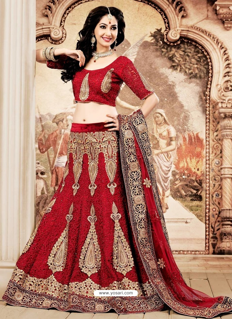 d7eb3f562e Buy Girlish Maroon Zari Work Net Bridal Lehenga Choli | Lehenga ...