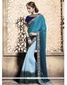 Remarkable Blue Embroidered Work Lycra Designer Saree