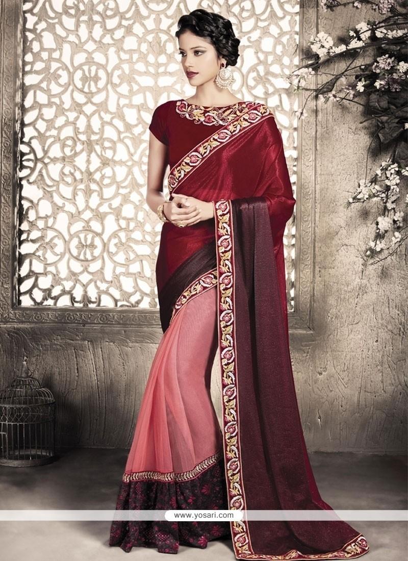 Pink Patch Border Work Lycra Designer Saree