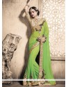 Elegant Weight Less Green Patch Border Work Designer Saree