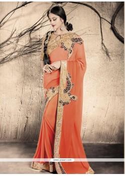 Extraordinary Orange Embroidered Work Designer Saree