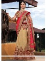 Fascinating Beige Jacquard Bridal Lehenga Choli