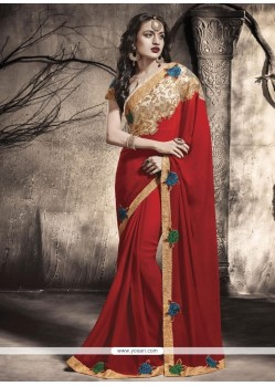 Pleasing Red Embroidered Work Viscose Designer Saree